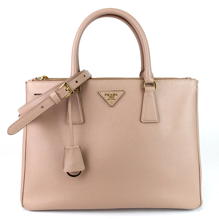 Saffiano Lux Double Zip Tote Bag