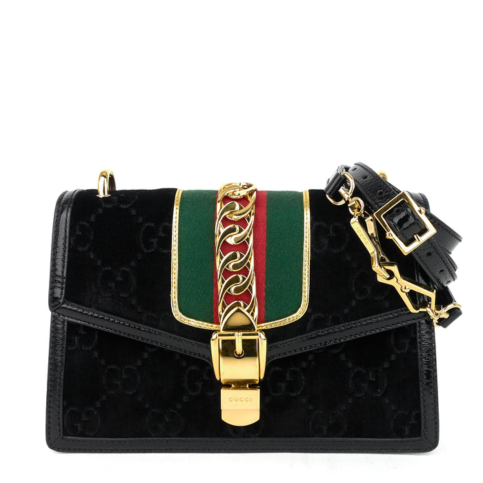 Sylvie Small Monogram Velvet Bag