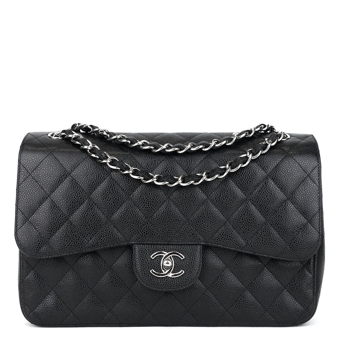 Classic Double Flap Caviar Leather Jumbo Bag