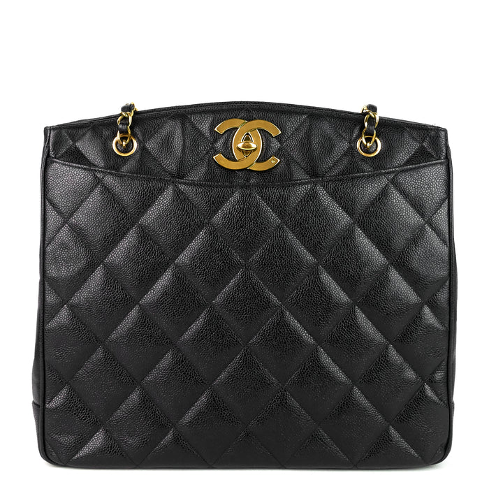 CC Turnlock Caviar Leather Bag