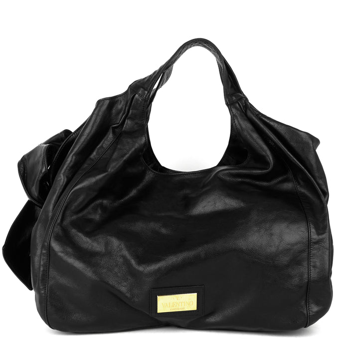 Nuage Bow Crinkled Leather Hobo Bag