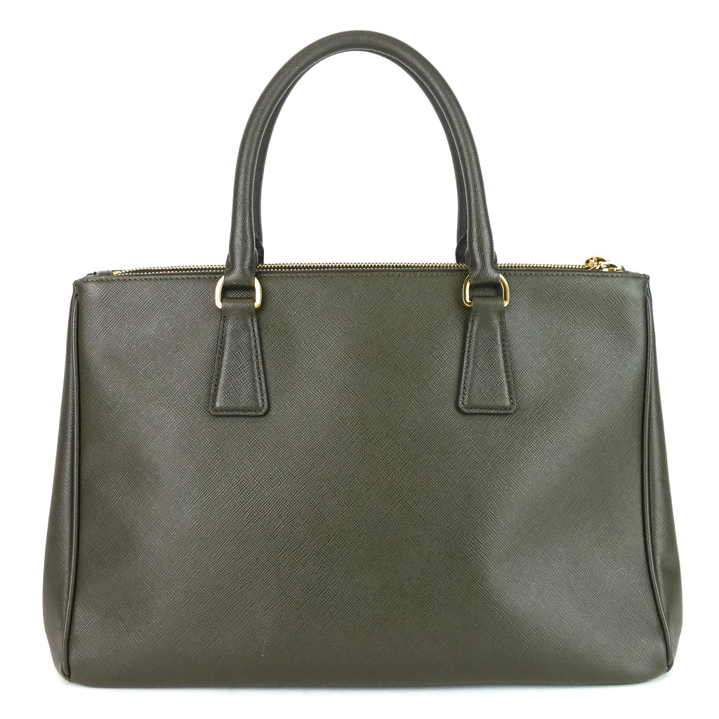 Saffiano Lux Military Green Double-Zip Bag
