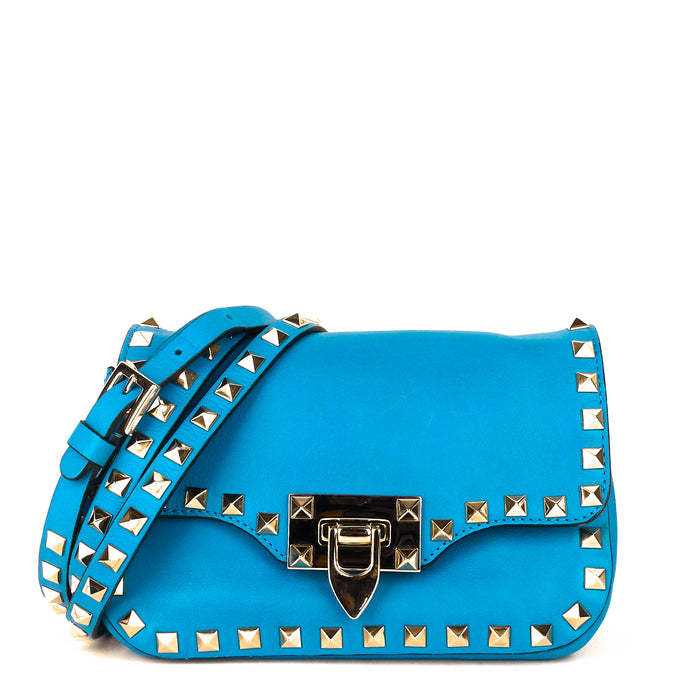 Rockstud Flip Lock Flap Mini Leather Bag