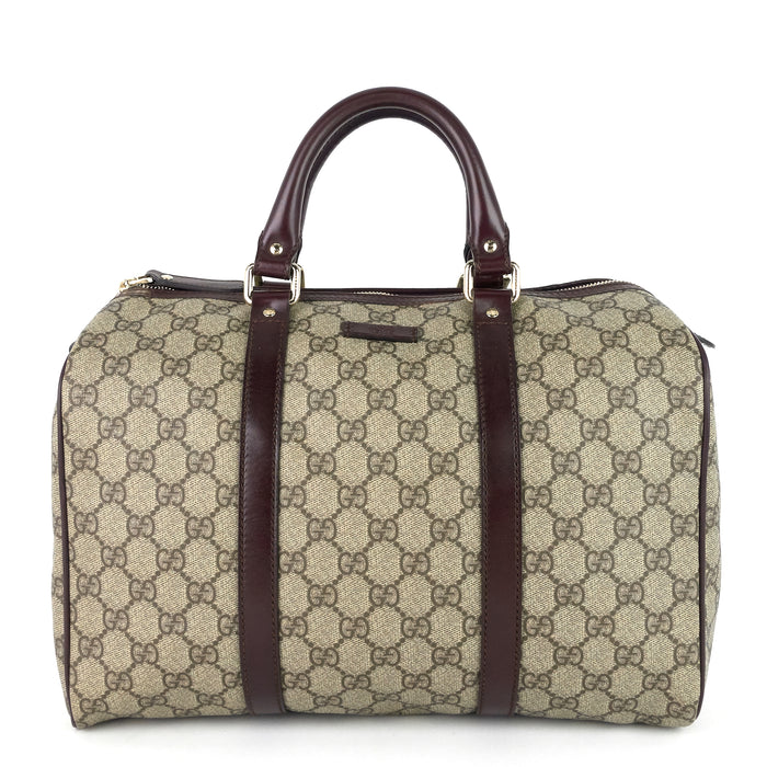 Joy Supreme Monogram Coated Canvas Boston Bag
