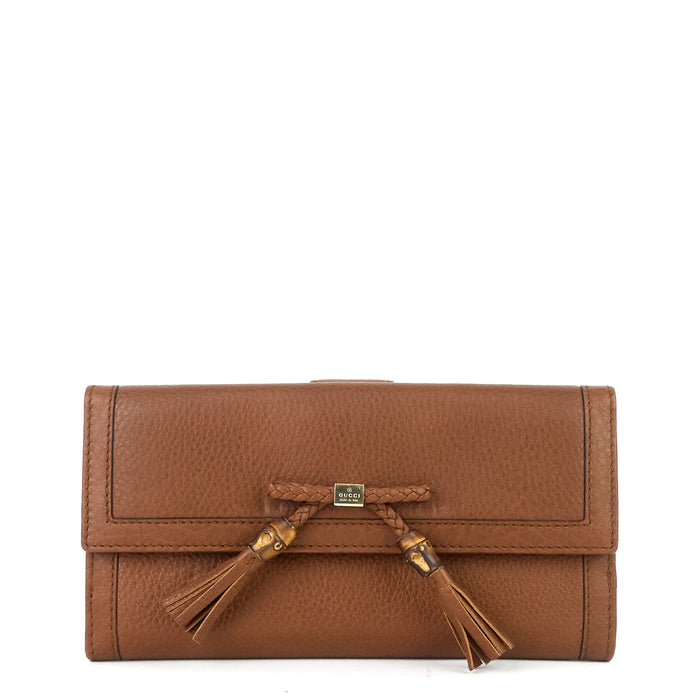 Pebbled Leather Bamboo Tassel Bella Continental Wallet