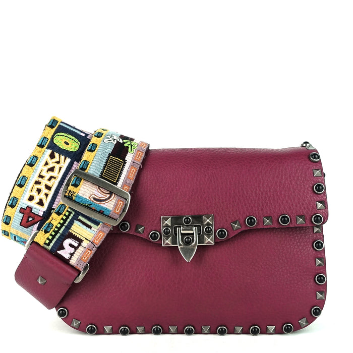 Rolling Rockstud With Cabochons Medium Leather Crossbody Bag