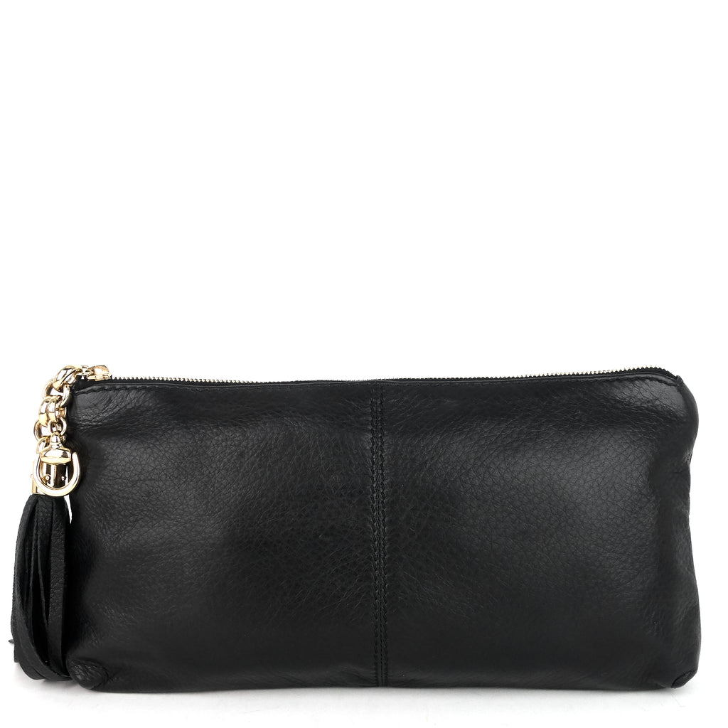 Sienna Tassel Leather Clutch Bag