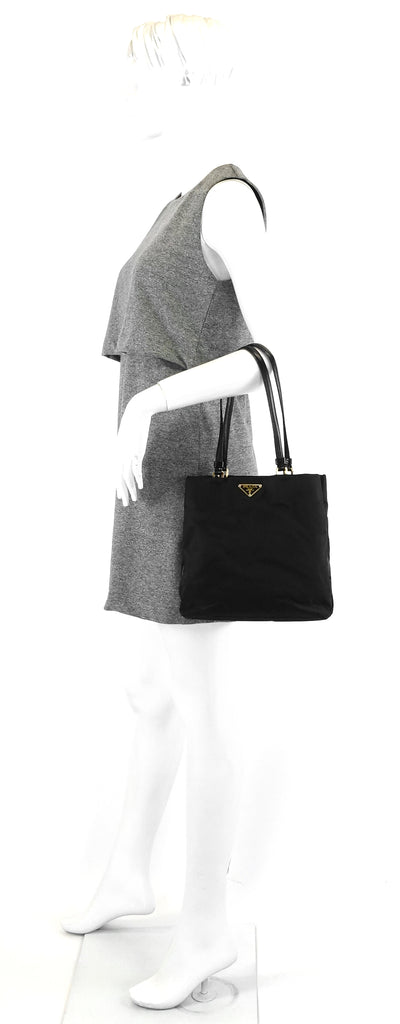 Leather-Trimmed Nylon Tote Bag
