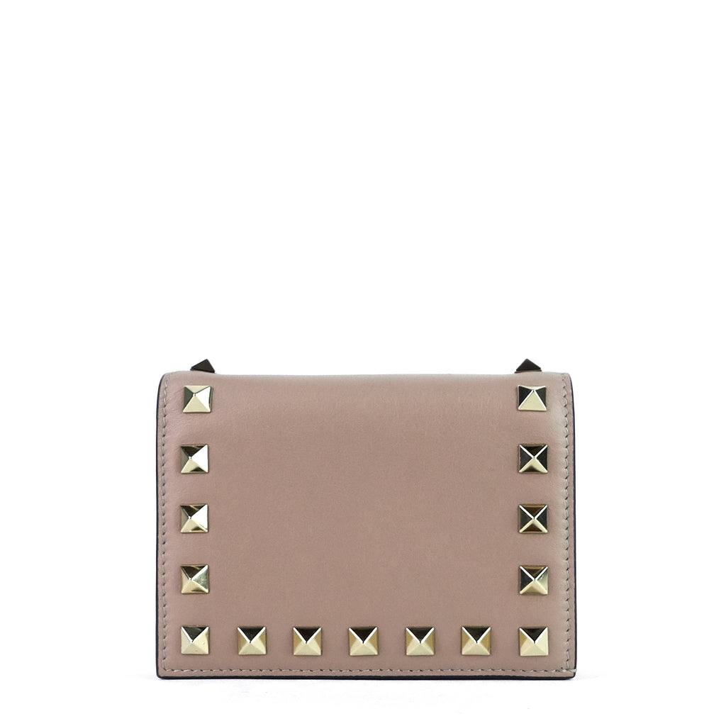 French Flap Rockstud Small Calf Leather Wallet