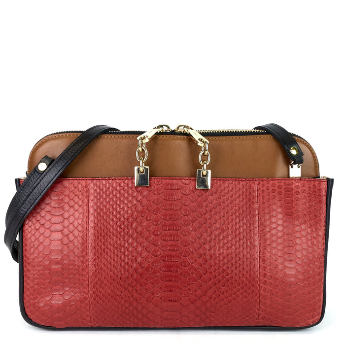 Lucy Calf and Python Shoulder Bag