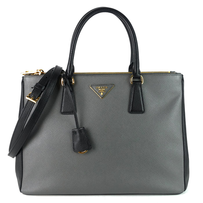 Double Zip Lux Medium Saffiano Leather Tote Bag