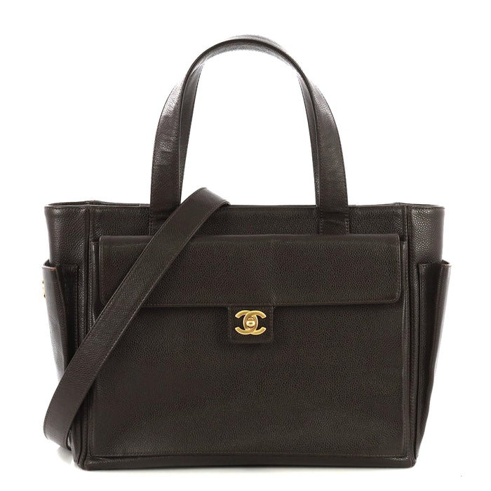 Medium Caviar Leather Front Pocket Tote Bag