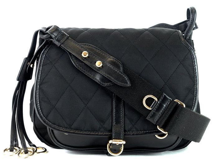 Corsaire Quilted Nylon and Calf Leather Bag