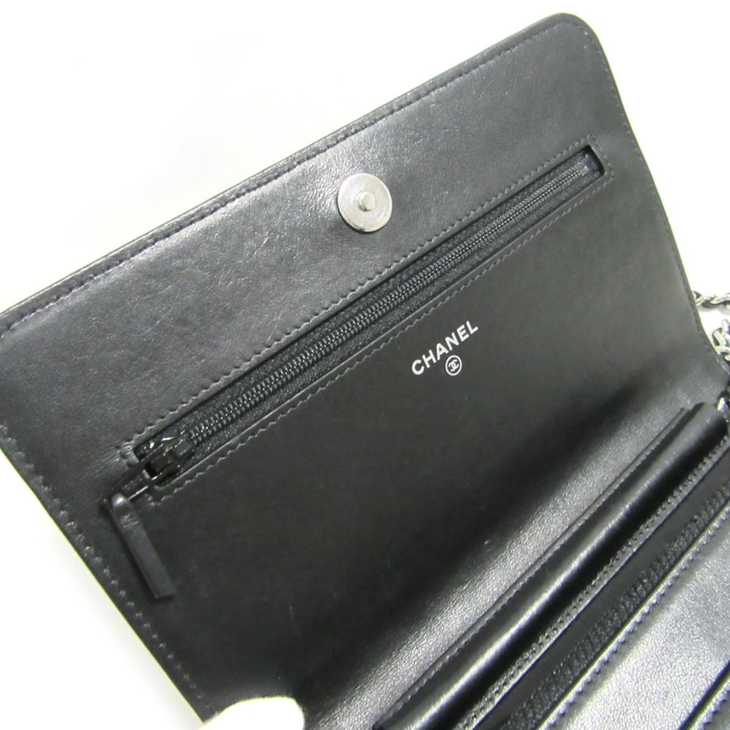 Wallet on Chain Camellia Lambskin Leather Bag