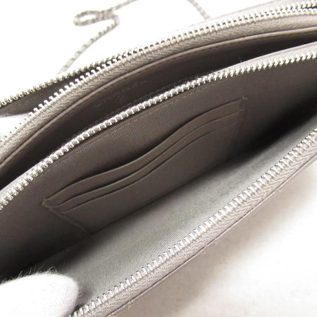 Clutch With Chain Flat Quilt Leather Bag