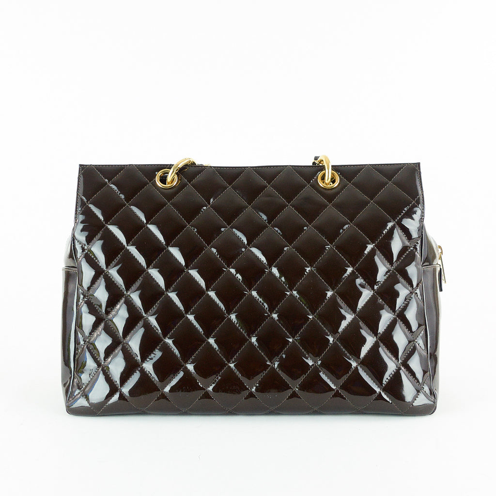 Grand Timeless Tote Quilted Patent Leather Bag