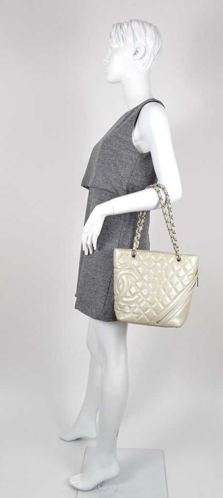 Matorasse Quilted Lambskin Leather Cotton Club Tote Bag
