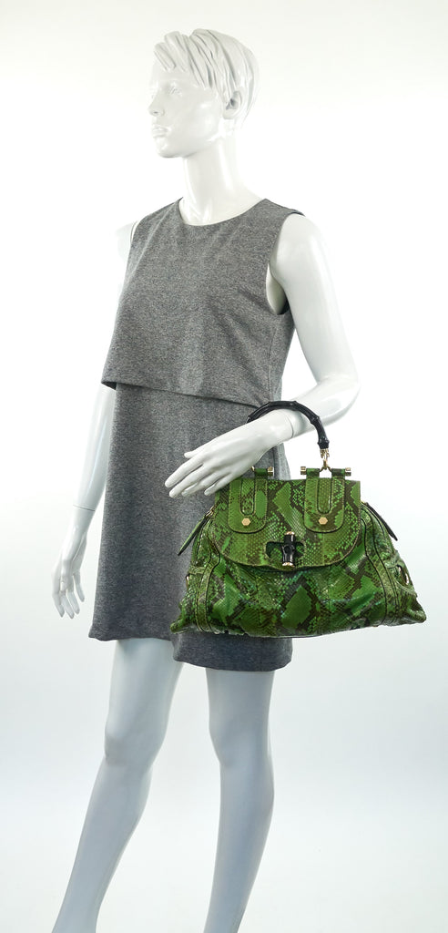 Pop Green and Black Python Bag