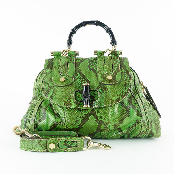 Pop Green Python Handbag