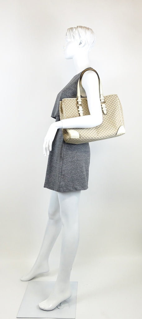 Canvas Ivory Trim Tote Bag