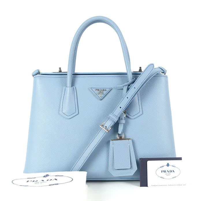 Twin Turn-Lock Saffiano Leather Handbag