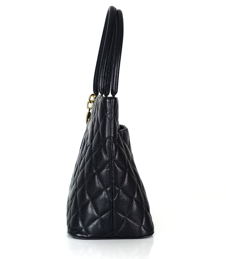 Medallion Quilted Caviar Leather Tote