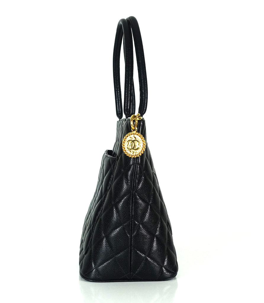 Medallion Quilted Caviar Leather Tote Bag