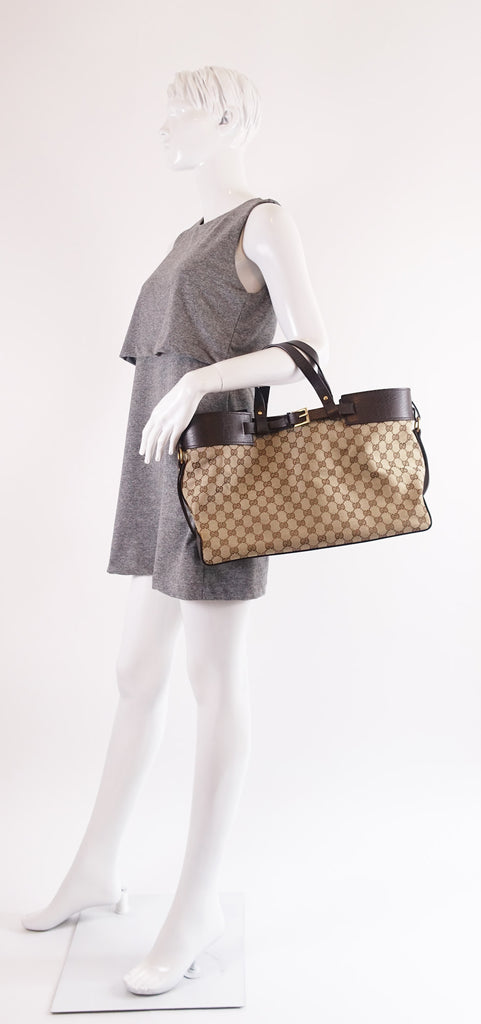 Monogram Canvas Double Buckle Tote Bag