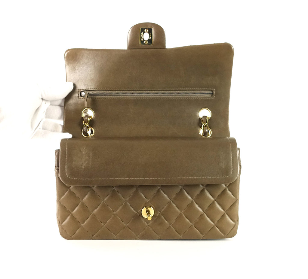"10"" Double Flap Lambskin Leather Shoulder Bag"