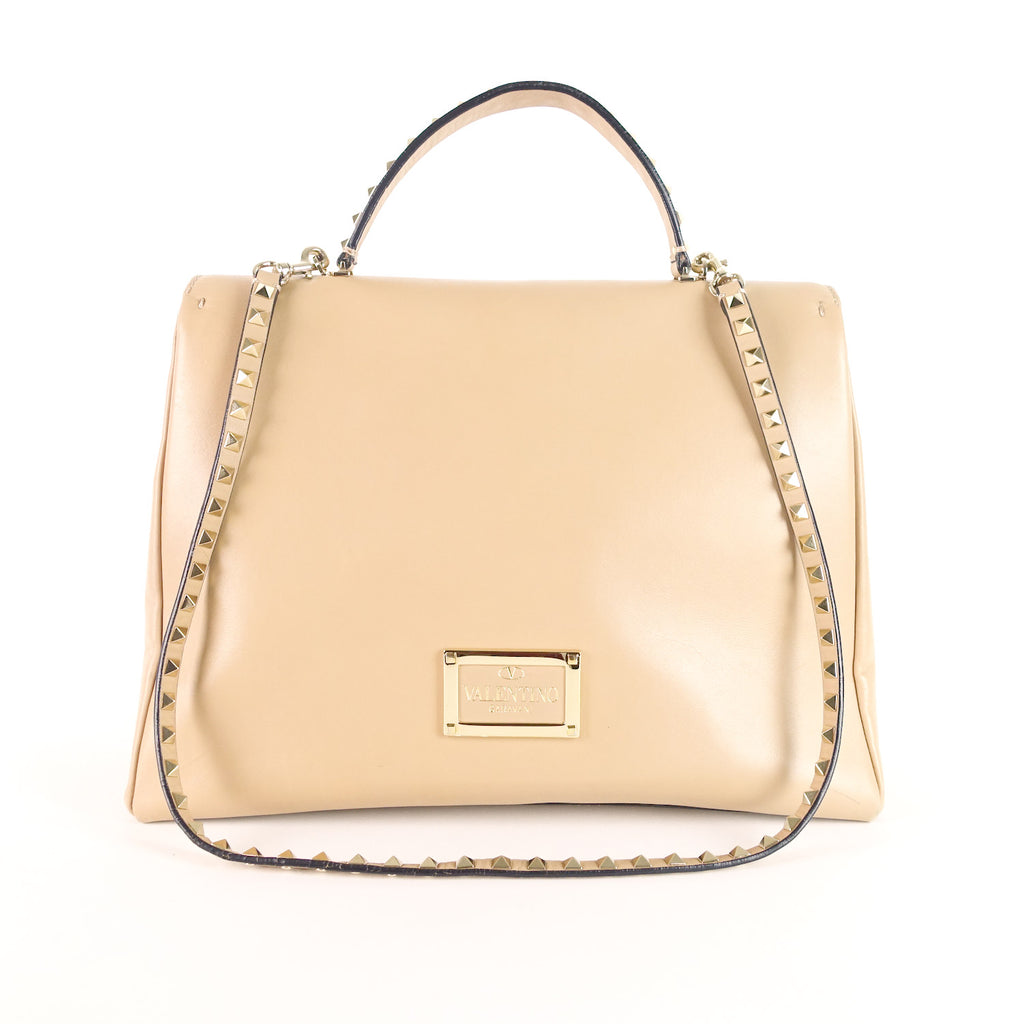 Rockstud Calfskin Leather Large Satchel Bag