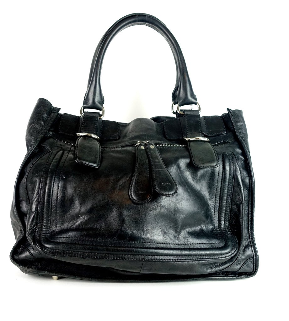 Crushed Leather Large Shoulder Bag