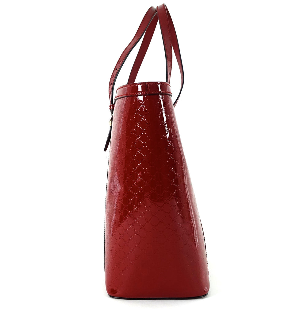 Nice MicroGuccissima Patent Leather Tote Bag