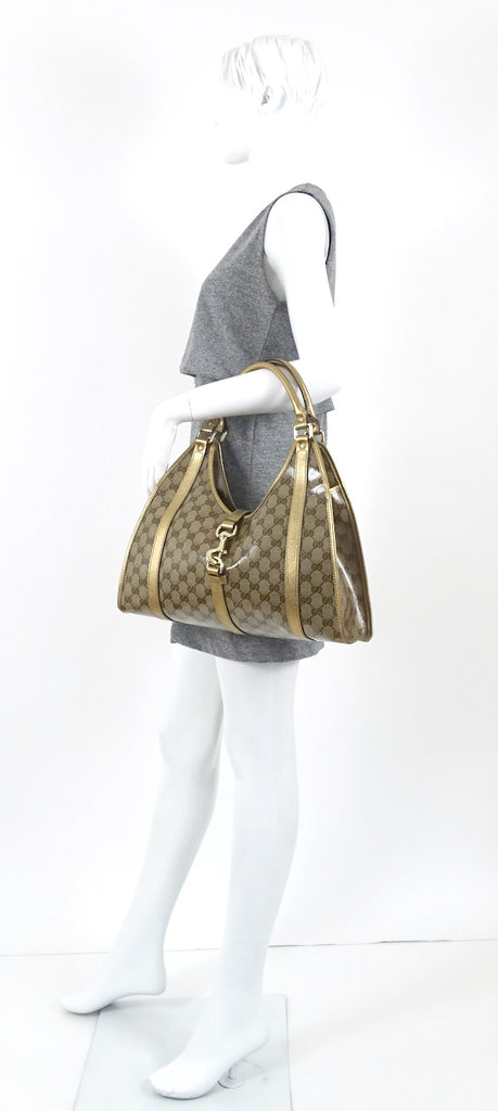 Crystal Monogram Coated Canvas Shoulder Bag