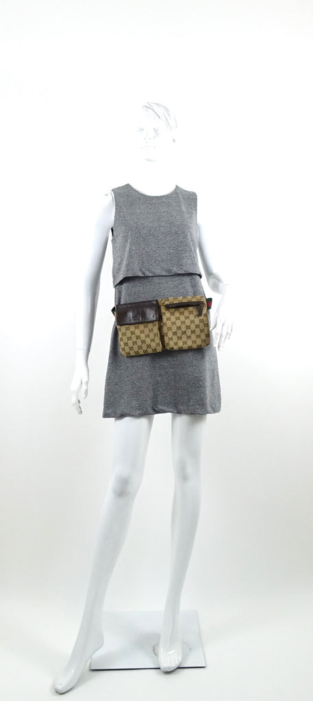 Canvas and Leather GG Belt Bag