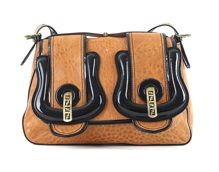 Double B Buckle Distressed Leather Shoulder Bag