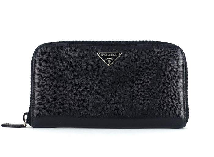 Metal Zip Around Saffiano Leather Wallet