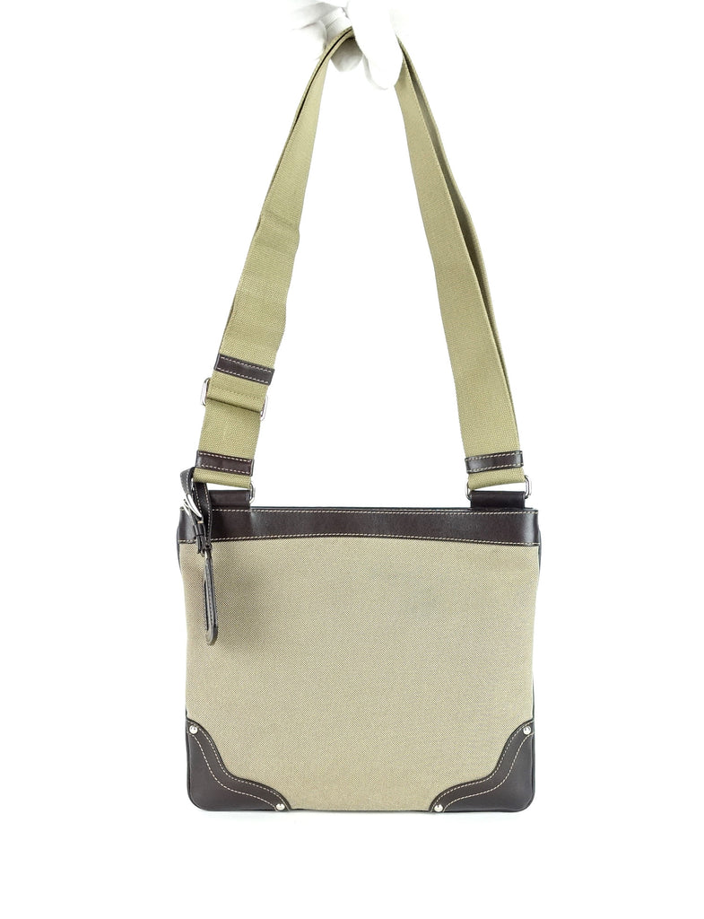 Canvas and Leather Crossbody Bag