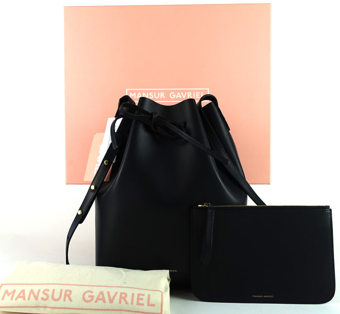 Mansur Gavriel Calf Leather Bucket Bag with Pochette Bag