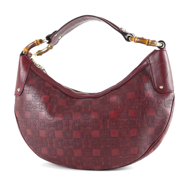 Embossed Leather Bamboo Ring Hobo Bag