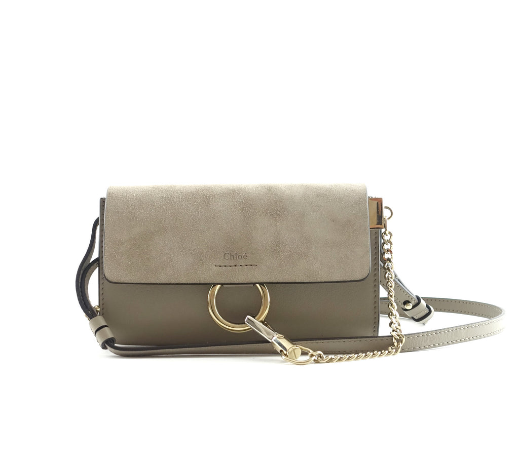Faye Leather and Suede Mini Shoulder Bag