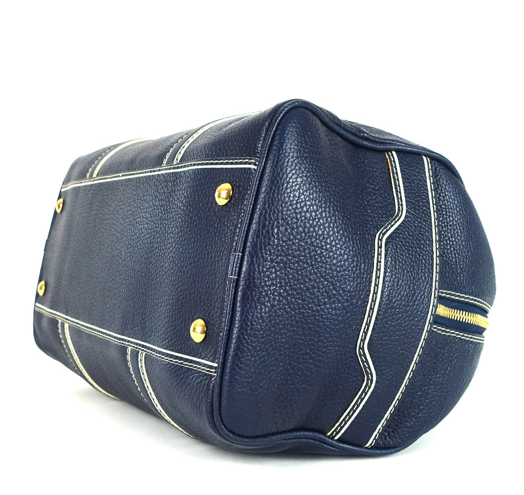 Navy Blue Leather Boston Bag