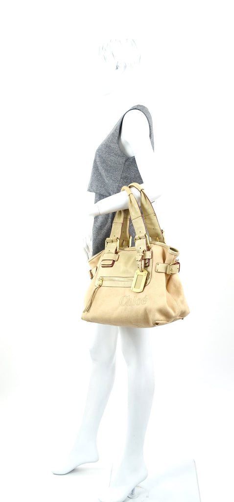 Beige Canvas and Leather Tote Bag