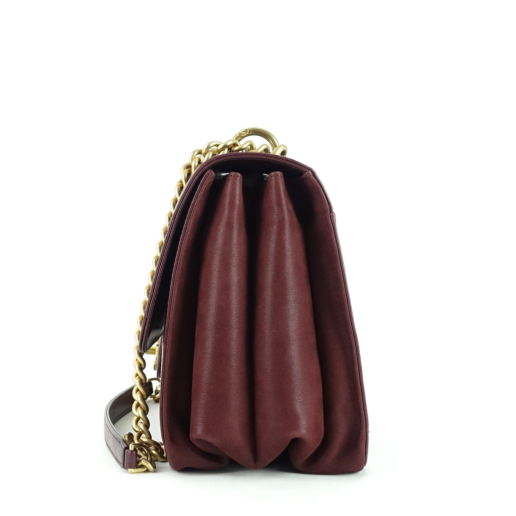 Straight Line Calf Leather Flap Bag