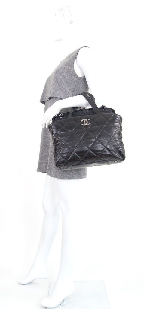 Portobello Quilted Glazed Calfskin Leather and Tweed Frame Shoulder Bag