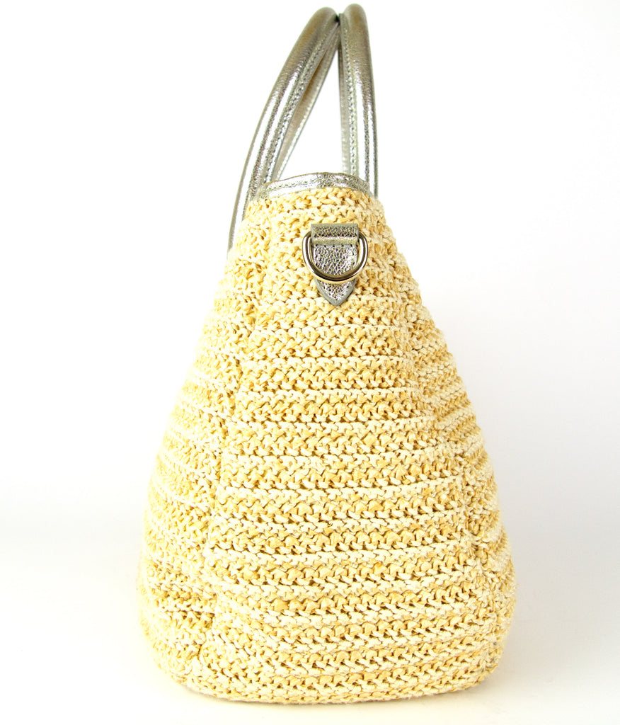 Jimmy Choo Rania Raffia and Leather Tote Bag