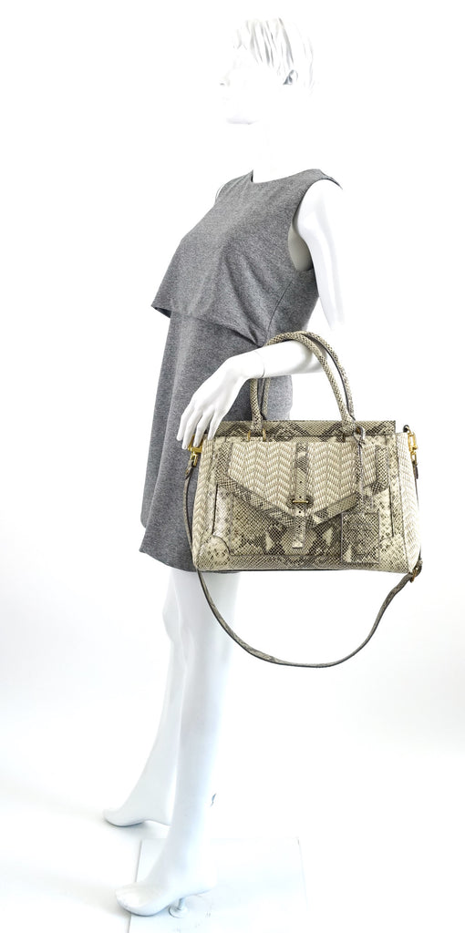Tory Burch 797 Snake-Print Leather and Raffia Satchel Bag