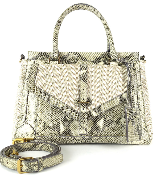 Tory Burch 797 Snake-Print Leather Raffia Satchel Bag