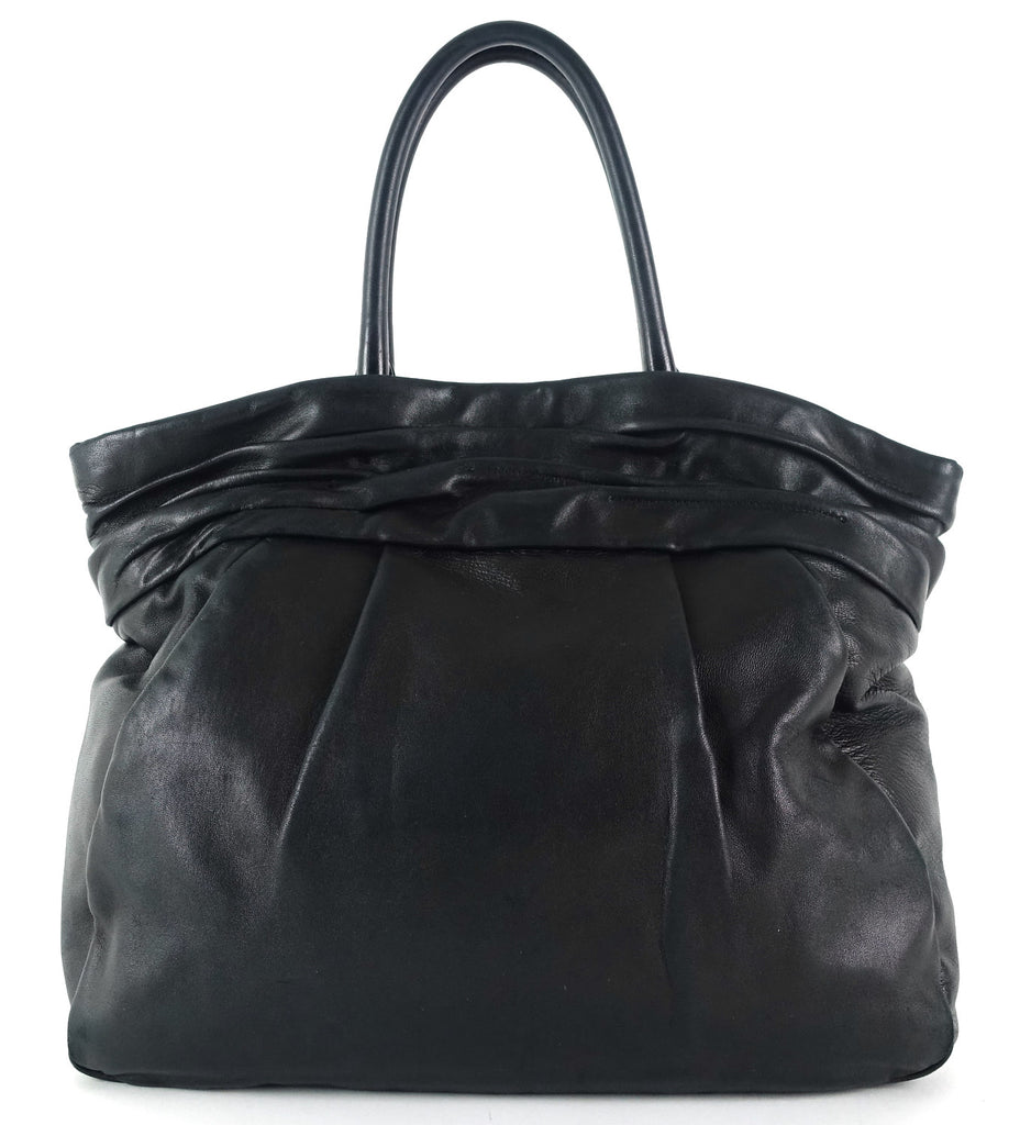 Pleated Vitello Daino Leather Bag