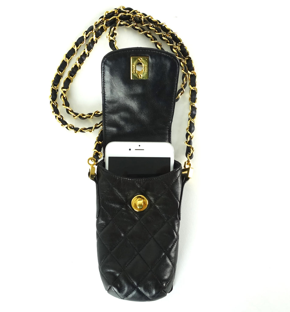 Quilted Lambskin Leather Phone Holder Shoulder Bag