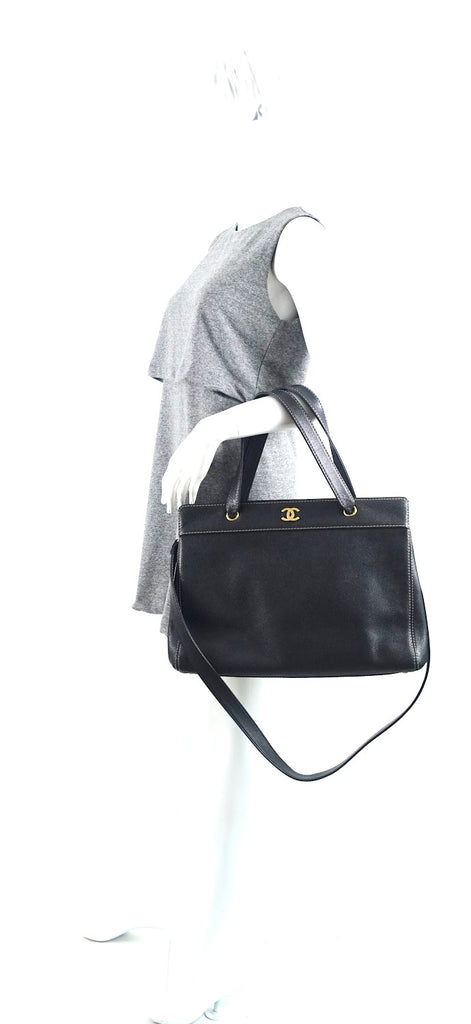 Large Caviar Leather Tote Bag
